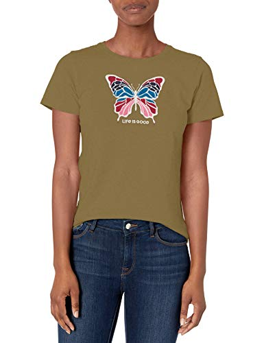 Life Is Good T-Shirt pour Femme Motif Floral Vert Fatigue, Taille XXL