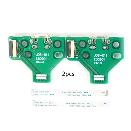2pcs JDS-011 Charging Port Micro USB Adaptor Charger Socket Circuit Board with 12 Pin Flex Cable Compatible with Sony PS4 2nd Gen DualShock 4 Controller