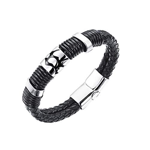 JewelryWe Schmuck Herren Armband, Leder Edelstahl, Vintage Einfach Bead Geflochten Armreif mit Magnet Verschluss, Schwarz Silber