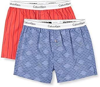 Calvin Klein Boxer Slim 2pk Ropa Interior, Ancho Pinstripe/Logotipo En Cascada, L Unisex Adulto