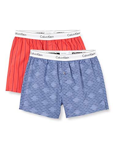 Calvin Klein Unisex Boxer Slim 2pk Unterwäsche, Breites Pinstripe/Cascading-Logo, M
