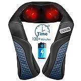 Massagegerät Nacken Schulter Rücken Kabellos Shiatsu Nackenmassagegerät mit Wärme, 3D-Massage mit Lang Gürtel Shiatsu Kneten Verstellbare Intensität den...