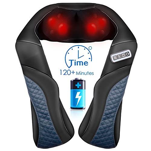 Massagegerät Nacken Schulter Rücken Kabellos Shiatsu Nackenmassagegerät mit Wärme, 3D-Massage mit Lang Gürtel Shiatsu Kneten Verstellbare Intensität den Heim und Bürogebrauch