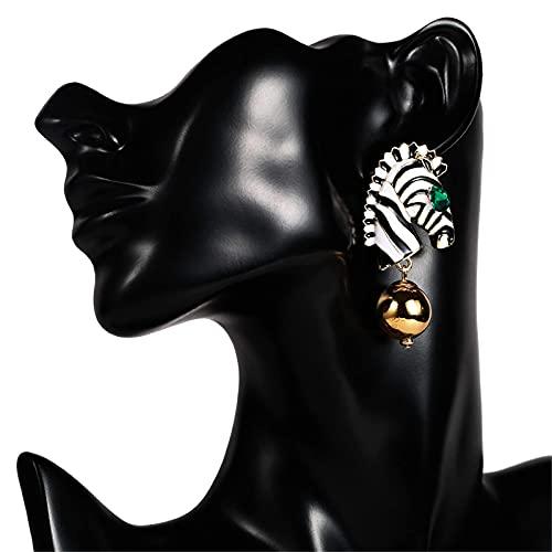 KINGVON KINGVON Orecchini zebrati a righe esagerate Moda temperamento Orecchini a bottone stile africano in lega Orecchini pendenti lunghi Boho per donna, 5,83 cm