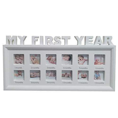 BSTCAR Bilderrahmen Baby Erstes Jahr, Mein Erstes Jahr Bilderrahmen 12 Gitter 4 x 4 cm Dekorationen