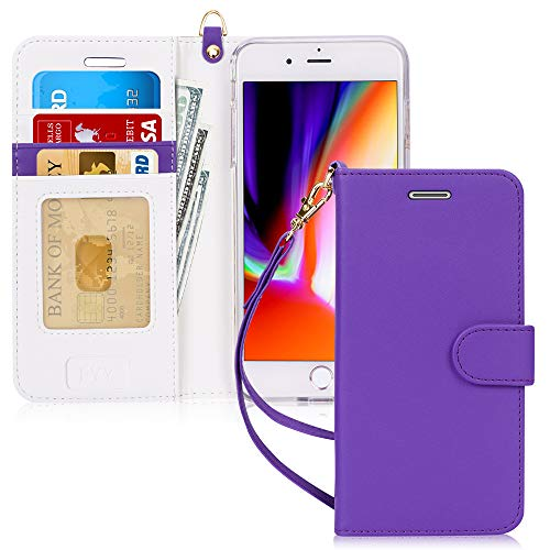 """FYY Case for iPhone 8 Plus/iPhone 7 Plus,[Kickstand Feature] Luxury PU Leather Wallet Case Flip Folio Cover with [Card Slots] [Wrist Strap] for Apple iPhone 8 Plus 2017/7 Plus 2016 (5.5"""") Purple"""