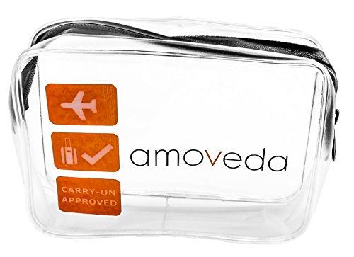 Neceser Transparente para el Equipaje de Cabina. Compatible con la TSA para Botellas, líquidos, cosméticos. Cremallera YKK Premium.