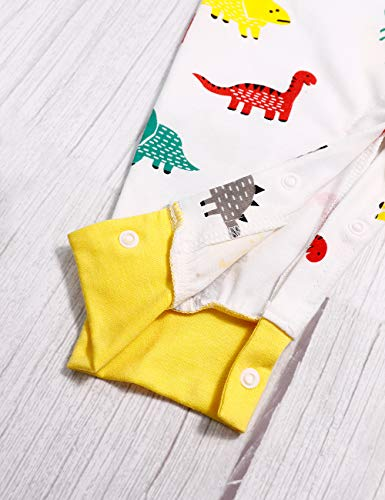 TUEMOS Newborn Baby Boys Girls RomperLong Sleeve One Piece Bodysuit Solid Color Button Romper Infant Fall Clothes Outfit (J-White, 3-6 Months)