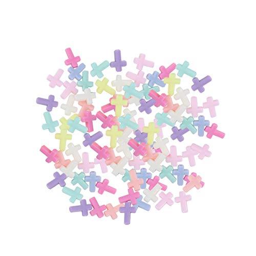 Supvox Las perlas cruzadas de acrílico gruesas mezclaron el encanto pendiente del color para la joyería que hace 200pcs