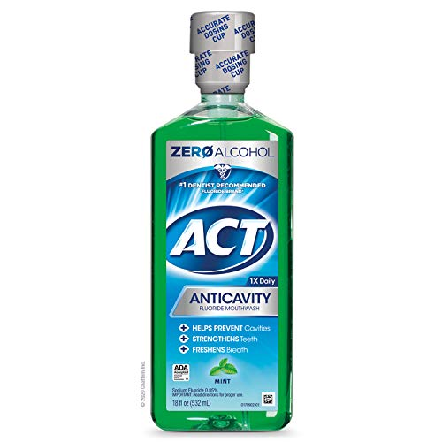 ACT Anticavity Zero Alcohol Fluoride Mouthwash 18 fl. oz., With Accurate Dosing Cup, Mint