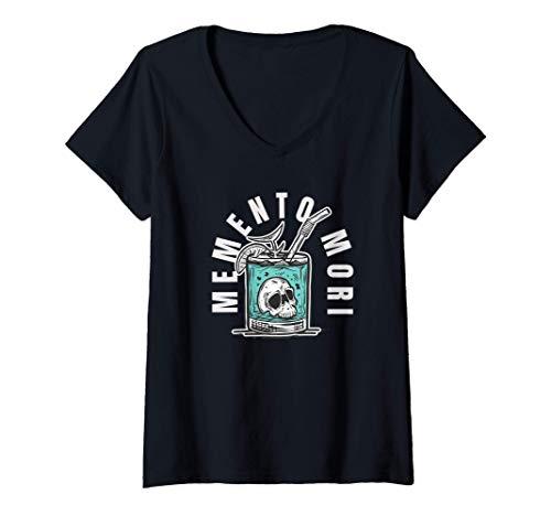 Mujer Memento Mori - Frase latina de cráneo filosófico Camiseta Cuello V
