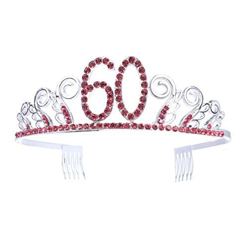 Frcolor - Corona con Diadema e Strass, con pettine, da principessa, per festeggiamenti dei 60 anni, Colore: Argento/Rosso