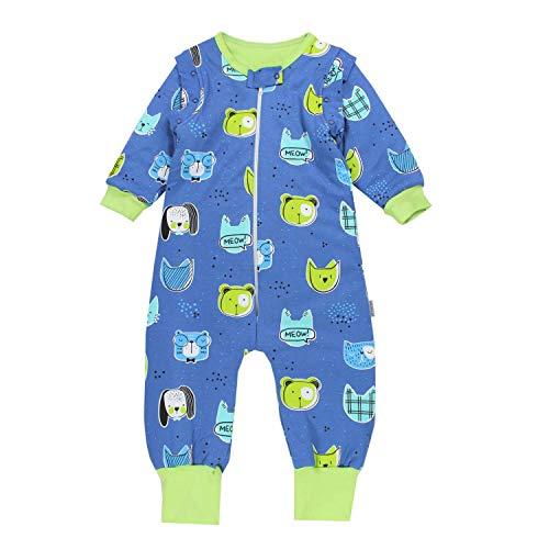 TupTam Baby Unisex Schlafsack mit Beinen und Ärmel Winter, Farbe: Tiere/Dunkelblau, Größe: 104-110