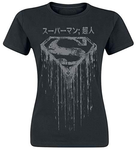 Superman DC Comics Oficial - Logotipo japonés - Camiseta Entallada Mujer (S)