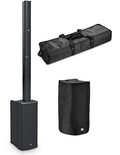 LD Systems MAUI 11 G2 Aktivanlage Set (All-in-One Säulenlautsprecher, 500 W RMS Class-D-Systempower, 4-Kanal Mixer inkl. Bluetooth® Stereo Audio Streaming, Set inkl. Tragetasche, Schutzhülle) Schwarz