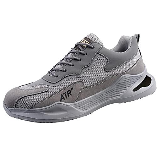 Calzado de Trabajo de Seguridad para Obras de construcción,Botas de Seguridad para Hombre Zapatos Trabajo con Punta de Acero Ligero,Gray▁43