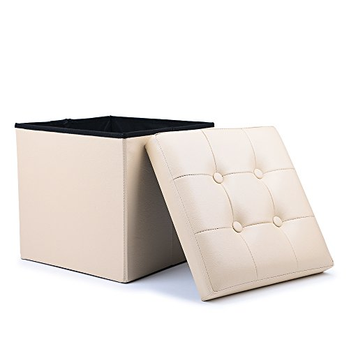 WoneNice Folding Storage Ottoman Cube Foot Rest Stool Seat (Beige)