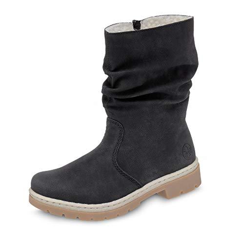 Rieker Damen Stiefeletten Y9483, Frauen Stiefelette, Freizeit leger Stiefel Boot halbstiefel übergangsschuh winterschuh,schwarz,38 EU / 5 UK