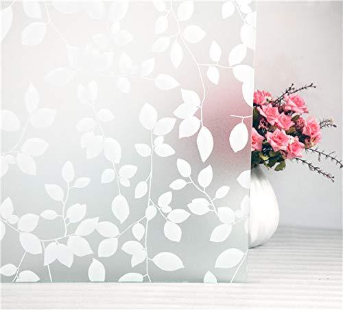 Tamia-Home, pellicola statica autoadesiva per vetri, con protezione solare anti-UV al 90%, motivo decorativo a foglie bianche, 1 pezzo, di color bianco latte, semitrasparente, HF-C5X4-XEW1
