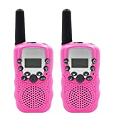 Cooja Talkie Walkie Interphone Enfant Fille, Paire de Talkies Walkies Takie-Walkie a Piles Talki Walki Longue Portée 3km 8 Canaux Talky Walky Lampe de Torche PMR VOX Casque -Rose