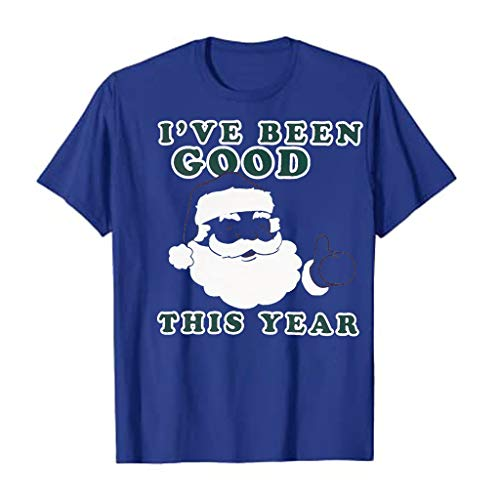 Meikosks I'VE Been Good Tee Shirts Womens Short Sleeve Tops Funny Santa Tshirt Casual Pullover Blue