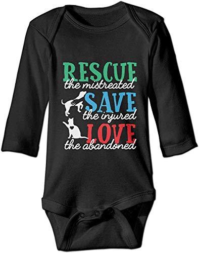 IUBBKI Rescue Animal Love Dog Cat Baby Boys Girls Mono de Manga Larga Body de Mameluco
