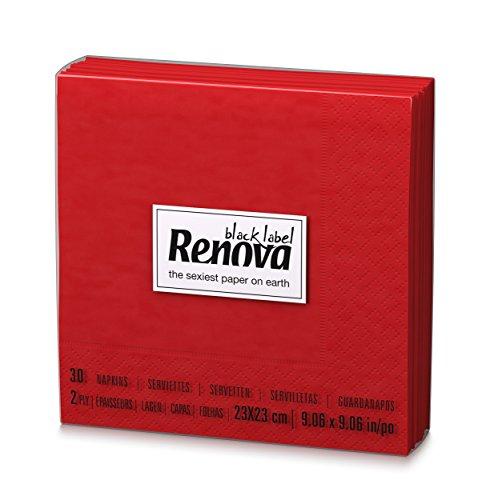 Renova Servilletas de papel Cocktail Roja - 30 servilletas - [Pack de 9]