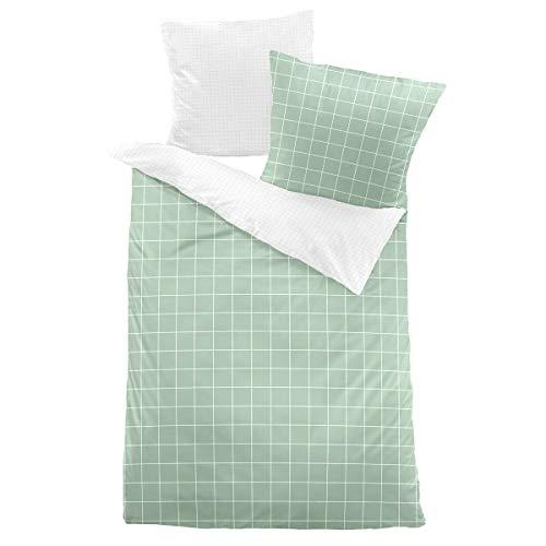Dormisette Mako-Satin Bettwäsche Cheltenham grün 1 Bettbezug 155 x 220 cm + 1 Kissenbezug 80 x 80 cm