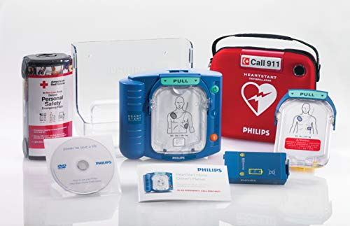 Philips HeartStart Home AED Defibrillator Value Package with Slim Carry Case, Adult AED Training Pads Cartridge, AED Wall Mount and American Red Cross Deluxe Personal Safety Emergency Pack