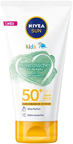 NIVEA SUN Kids 100% Mineralischer Schutz Lotion LFS 50+ (150 ml), extra wasserfeste Kinder Sonnencreme, Sonnenlotion für sofortigen und hochwirksamen UVA/UVB-Schutz