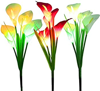 3-Pack Wosports Multi Color Changing LED Lily Solar Powered Lights