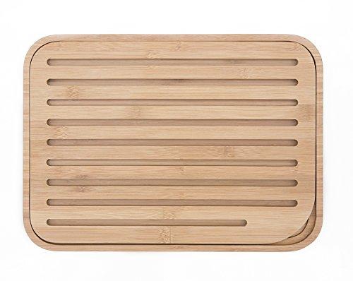 PEBBLY - NBA037 - Grande planche à pain L en bambou sans couleur avec grille amovible - Matériau naturel et résistant