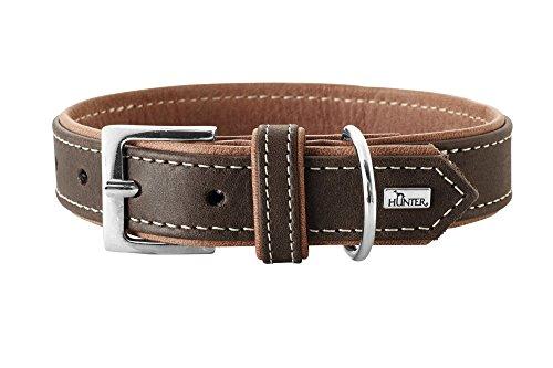 HUNTER PORTO Hundehalsband, Leder, Premiumleder vegetabil, umweltfreundlich, nachhaltig, 55 (M), dunkelbraun/cognac
