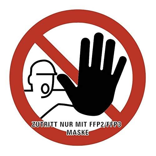 """Aufkleber Verbotsschild""""Zutritt nur mit FFP2/FFP3 Maske"""" ISO 7010 Folie Ø5-40cm   rot Made in Germany, Größe: Ø30 cm"""