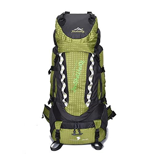 LZJDS Mochila Impermeable 80l Senderismo Camping Backpack Viaje Daypacks Outdoor Sports Staep Bag,Verde