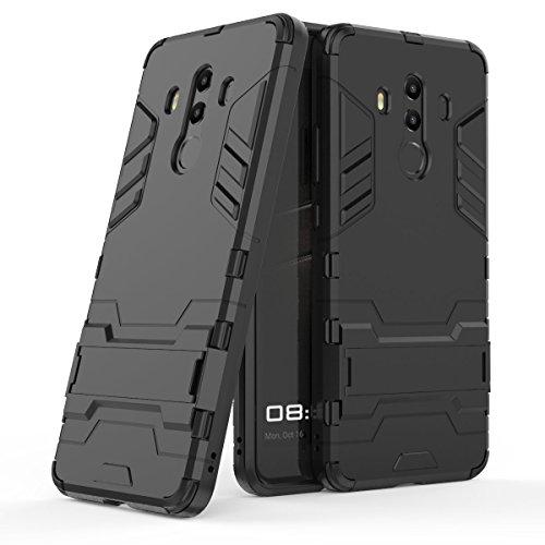 MHHQ Huawei Mate 10 PRO Custodia, 2 in 1 Nuovo Armour Stile Resistente Hybrid Dual Layer Armatura Defender PC + TPU Custodie con Supporto [Custodia Antiurto] per Huawei Mate 10 PRO -all Black