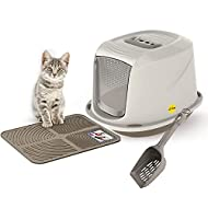 Grey Galaxy Cat Litter Tray Bundle + Grey Tray Mat + Scoop - Hooded Toilet Charcoal Filter