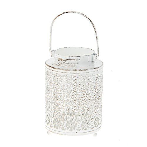 Lanterne à bougie en dentelle blanche antique de 21,5 cm. Dispose d'une finition vieillie pour un aspect vintage.