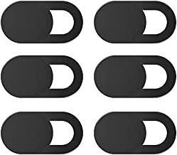 COOLOO Webcam Cover Slide 6-Pack, Ultra-Thin Laptop Camera Cover Slide for iMac, MacBook Pro, iPhone, PC, iPad Pro, Desktop, Smartphone, Echo Show, Protect Your Privacy Security(Black)