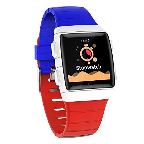 JIAJBG Smart Watch, 1.3-Inch IPS Super Dazzling Large Screen, Ip68 Waterproof and Super Battery Life. Smart Bracelet with Seven Sports Modes for Android and iOS Noble/Blue and red