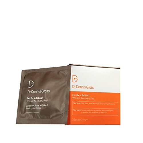 Dr. Dennis Gross Skincare Ferulic and Retinol Wrinkle Recovery Peel Facial Mask, 16 Count