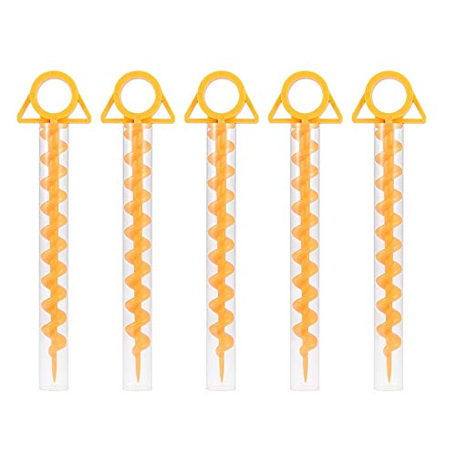 Camping Tent Ground Screw,Pack Outdoor Tent Stakes, Canopy Stakes, Camping Stakes, Beach Tent Stakes Heavy Duty Screw Shape (5pcs)