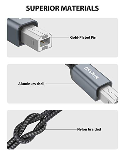 NIMASO Cable Impresora [3M]cable usb impresora hp Tipo USB 2.0 Tipo A a Tipo B Compatible para Impresora HP, Epson,Canon… 5