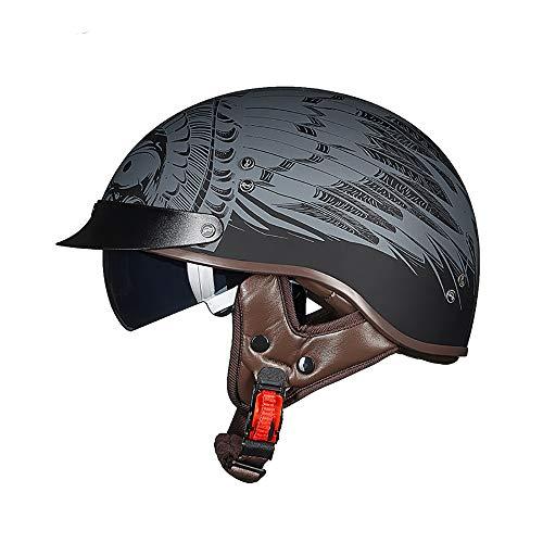 Xwenx Casco de motocicleta aprobado por DOT para hombres y mujeres, medio casco Harley casco de perfil bajo Beanie Retro para casco de verano con gafas de sol, XXL