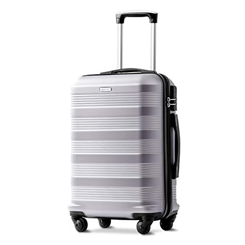 Merax 20 Inch Silver Suitcase, Super Lightweight ABS Hard Shell Travel Luggage Suitcase with 360° Wheels Suitcase Luggage Free 3 Year Warranty