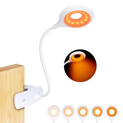 Leselampe,16 LED klemmlampe bett, Buchlampen USB Wiederaufladbar Klemmleuchte 5 Helligkeit Dimmbar 360° Flexibel Klemmlampe Augenschutz Bernstein Nachttischlampe Nachttischlampe