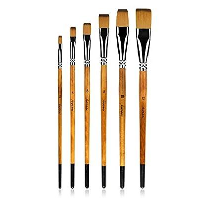 golden maple 6Pcs Japanese Nylon Flat Paint Brush Set Short Wooden Acrylic Handle for Oil Watercolor Acrylic Gouache Paints