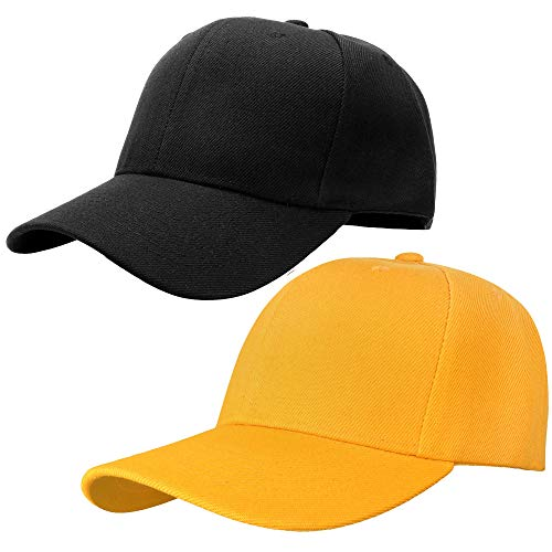 Falari Baseball Dad Cap Adjustable Size Perfect for Running Workouts and Outdoor Activities (One Size, 2pcs Black & Gold)