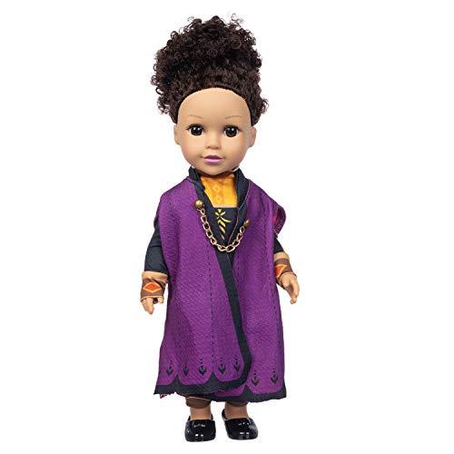 JERFER Puppe Naturgetreue -Baby-Spielpuppen mit lockiges Haar Braune Augen Baby Doll Zubehör für Kinder A15
