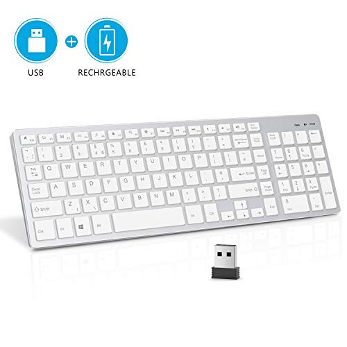 Wireless Keyboard, Vivefox 2.4G Rechargeable Wireless Keyboard Ultra Slim Keyboard Wireless with Numeric Keypad for Computer, PC, Laptop, Surface - QWERTY UK Layout, Silver & White